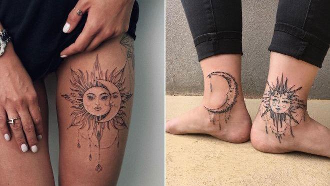 23 Plus Belles Idées De Tatouage Femme Soleil Et Lune