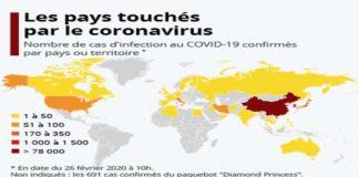 Les pays touchés par le coronavirus