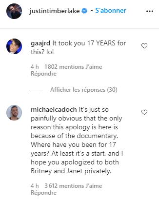 La réaction des fans aux excuses de Justin Timberlake